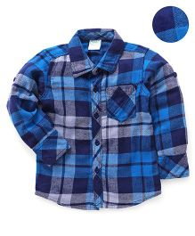 Babyhug Full Sleeves Checks Shirt - Blue