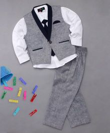 Robo Fry 3 Piece Party Suit With Tie - Blue & Grey