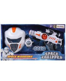 Space Warriors Vibrating Gun With Helmet - White