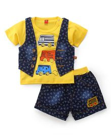 Wow Clothes T-Shirt Jacket And Shorts Set Vehicle Print - Yellow & Blue
