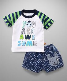 Wow Clothes Half Sleeves Tee And Shorts Awesome Print - White Green & Blue