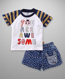 Wow Clothes Half Sleeves Tee And Shorts Awesome Print - Navy