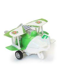 Flyers Bay Die Cast Biplane Pull Back Toy - Green