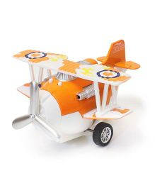 Flyers Bay Die Cast Biplane Pull Back Toy - Orange