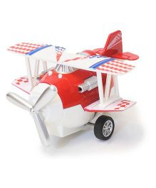 Flyers Bay Die Cast Biplane Pull Back Toy - Red