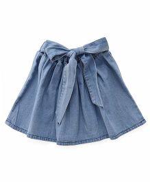 Bubblegum Denim Skirt With Tie-Up Belt - Blue