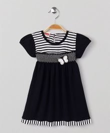 Babyhug Short Sleeves Frock Butterfly Applique - Navy