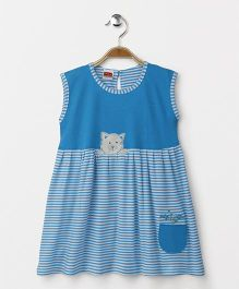 Babyhug Sleeveless Knitted Frock Stripes Print - Blue