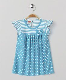 Babyhug Short Sleeves Frock Heart Print - Blue