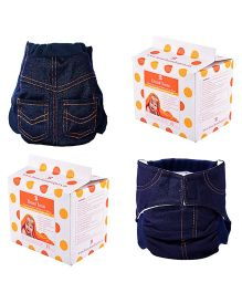 Bumchum Hybrid Diaper Cover Denim With Washable & Disposable Nappy Pads - 24 Pieces