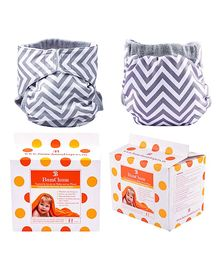 Bumchum Hybrid Diaper Cover Chevron With Washable & Disposable Nappy Pads Grey - 24 Pieces