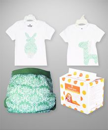 Bumchum Hybrid Cover With 2 Matching T-Shirt & Disposable Nappy Pad White - 24 Pieces