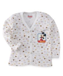 Bodycare Full Sleeves Vest Mickey Mouse Print - Off White