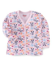 Bodycare Full Sleeves Vest Mickey Mouse Print - Light Pink
