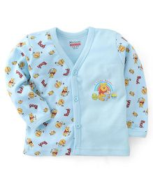 Bodycare Full Sleeves Vest Winnie The Pooh Print - Light Blue