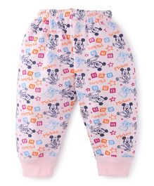 Bodycare Full Length Thermal Bottoms Mickey Mouse Print - Light Pink