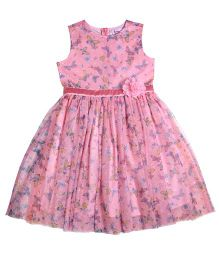 Teeny Tantrums Butterfly Print Mesh Dress - Pink