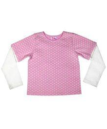 Teeny Tantrums Polka Dot Full Sleeves T-Shirt - Pink