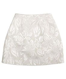 Teeny Tantrums Jaquard Floral A-Line Skirt - Ivory
