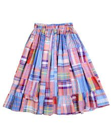 Teeny Tantrums Check Print Midi Skirt - Multicolor