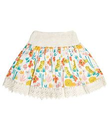 Teeny Tantrums Jungle Print Skirt With Smocked Waist - Off White