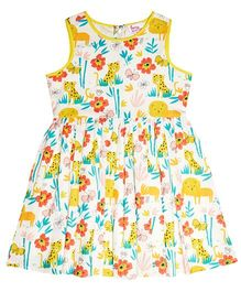 Teeny Tantrums Jungle Print Dress - Yellow