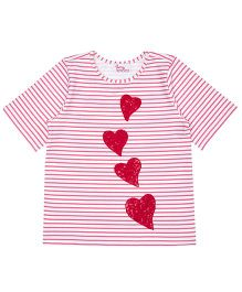Teeny Tantrums Little Hearts Beaded T-Shirt - White & Pink