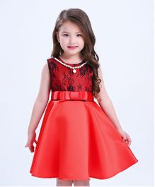 Superfie Sequein Dress With Bow Belt - Red