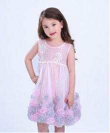 Superfie Rose Applique Fit & Flare Dress - Baby Pink