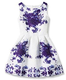 Superfie Printed Pleated Flare Dress - White & Purple