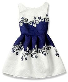 Pre Order - Superfie Floral Printed Pleated Dress - Blue & White