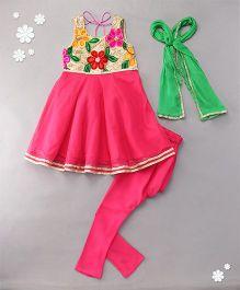 Kids Chakra Floral Anarkali - Red