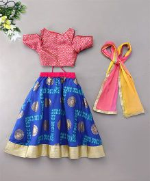 Kids Chakra Ghagra With Cold Shoulder Choli - Blue