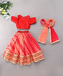 Kids Chakra Tie & Dye Ghagra Choli - Peach Red