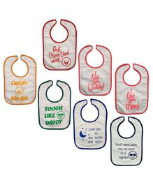 Nahshonbaby Bibs Quote Printed Pack of 7 - Multicolour