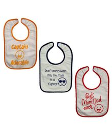 Meukebaby Bibs Quote Printed Pack of 3 - Red Yellow Blue
