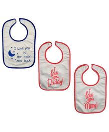 Nahshonbaby Bibs Quote Printed Pack of 3 - Red Blue