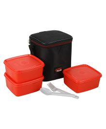 Jaypee Wonder Bag Lunch Box Container Set Of 3 With Carry Case Red - 1800 ml