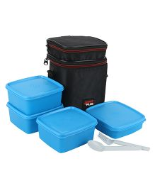 Jaypee Wonder Bag Lunch Box Container Set Of 4 With Carry Case Blue - 2250 ml