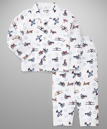 Fido Full Sleeves Night Suit Planes Print - White