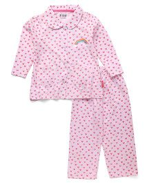 Fido Full Sleeves Night Suit Hearts Print - Pink