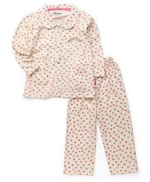 Fido Full Sleeves Night Suit Hearts Print - Yellow
