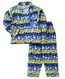 Fido Full Sleeves Night Suit Ball Print - Blue Yellow