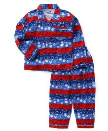 Fido Full Sleeves Night Suit Planes Print - Blue Red