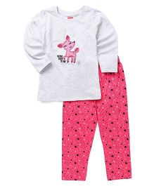 Babyhug Full Sleeves Night Suit Deer Patch & Star Print - Light Grey Pink
