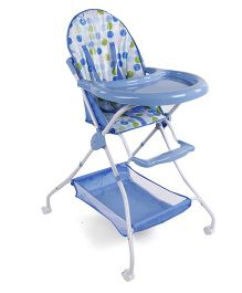 High Chair Circle Print With Basket - Blue