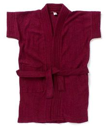Pebbles Half Sleeves Bathrobe - Wine