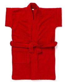 Pebbles Half Sleeves Bathrobe - Red