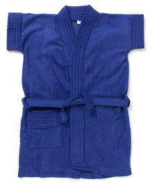 Pebbles Half Sleeves Bathrobe - Navy Blue