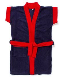 Pebbles Half Sleeves Bathrobe - Navy Blue & Red